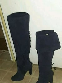 pair of black suede knee-high boots Tacoma, 98444