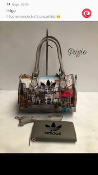 Tote bag in pelle Adidas grigia