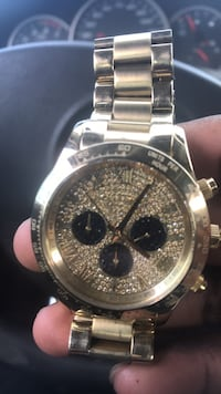 round silver chronograph watch with silver link bracelet Hyattsville, 20782