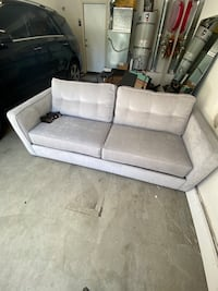 Grey pullout sofa couch