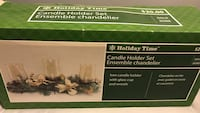 green and white floral candle holder set