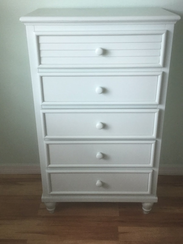 white wooden 5-drawer tallboy dresser