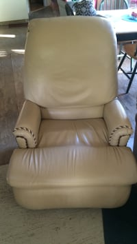 white leather sofa chair with ottoman