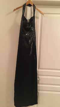Black halter prom dress, worn once only, good condition (size 4-6)