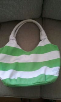 white and green striped textile bag.  Mobile, 36695