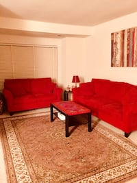red fabric sofa set with throw pillows Bethesda, 20817