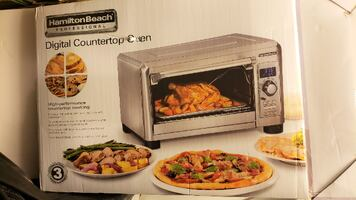 NEW Digital Convection Oven Hamilton Beach Convection, Temp Probe, Stainless, (mdl 31240)
