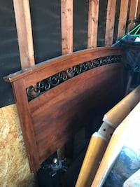 brown and black wooden headboard