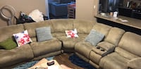 brown suede sectional sofa with throw pillows Bakersfield, 93312