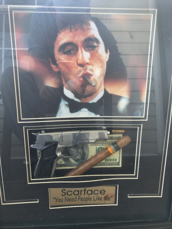 Used Scarface Poster With Black Wooden Frame For Sale In Gulf Breeze