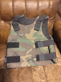 Brown and green camouflage vest