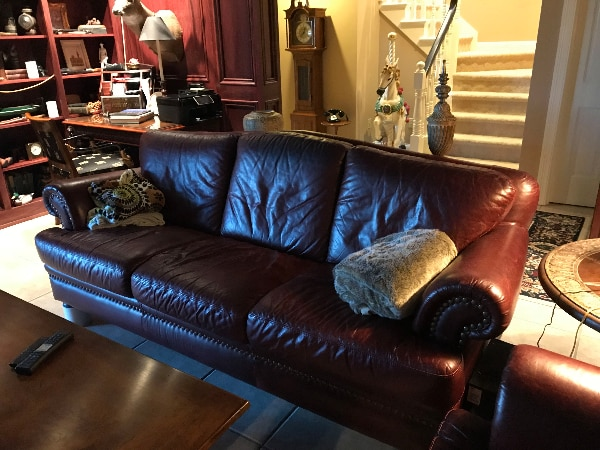 "90"" Leather Couch (Burgundy)"
