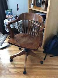 Solid wood Lawyer Chair on wheels MINNEAPOLIS