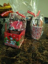 red and beige christmas gift pack