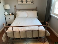 Beautiful Blush/Nude 4 poster metal double bed frame.