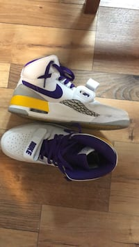 Jordan's with the LA Lakers colour way