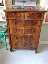 Stunning burl chestnut empire dresser chest of drawers Bethesda