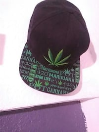 black and green cannabis print fitted cap Las Cruces, 88007