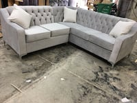 white fabric sectional sofa with throw pillows Brampton, L6P 1R6