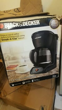 black and gray Hamilton Beach coffeemaker box.