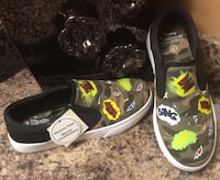 Toddler's/boy's green, black, yellow, & white low top sneakers ( brand new with tag ) Calgary, T2J