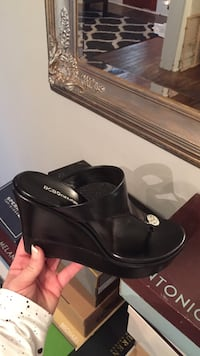 black leather t-strap platform wedge-heeled sandal