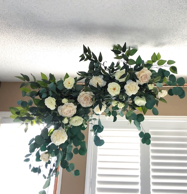 RENTAL- copper arch with silk flowers  1