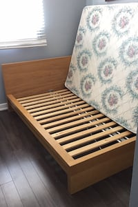 Wood frame Bed with Mattress
