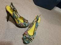 pair of multicolored open-toe heeled sandals Prince George, V2L 2A6