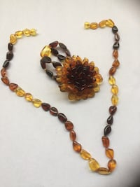 Women Fashion  Amber Bracelet Necklace  Set
