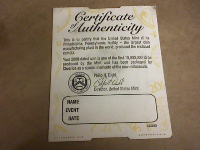 2000 Cheerios Penny Sealed + Certificate of Authenticity Millennium Lincoln.  0169eb26-3826-4f8b-a927-16665890c01d