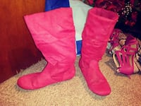 pair of pink suede boots