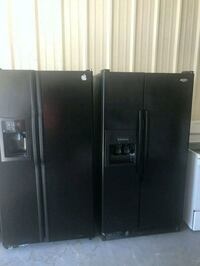 black side-by-side refrigerator with dispenser Mesquite