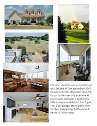Golf Course Home at Smith Mountain Lake, 4BR, 3BA Moneta