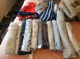 Baby boy clothes  and receiving blankets
