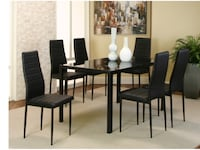 Rectangular brown wooden table with 6 chairs dining set Collingdale, 19023