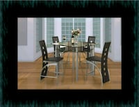 Counter height glass dining table with 4 chairs Laurel