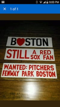 3 Vintage 1970s Red Sox Bumper stickers. Nashua, 03062