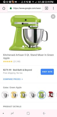 TODAY ONLY!!! Kitchenaid stand mixer Green Apple Portland, 97230