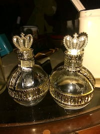 two brass and clear glass candle holders Independence, 64050