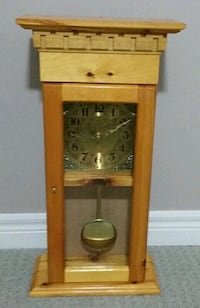 HANDMADE PENDULUM CLOCK OAK WOOD CABINET GOLD & BLACK DIAL London, N6G 5B4