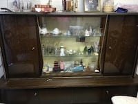 brown wooden framed glass display cabinet Puyallup, 98375