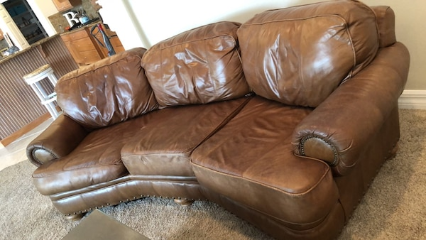 Broyhill leather conversation sofa