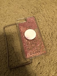 Pink sparkly rainfall Casemate case WITH POP SOCKET