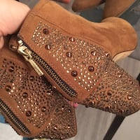 Zara rare crystal brown faux suede ankle boots San Francisco, 94103