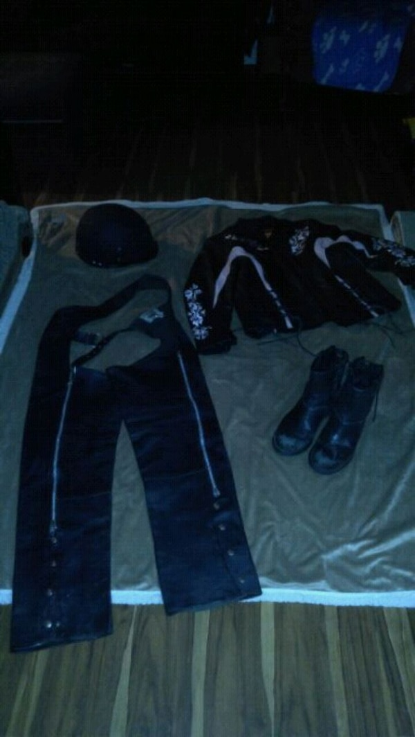 Leather chaps,helmet size 8 boots , leather jacket