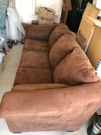 Brown microfiber couch, very clean