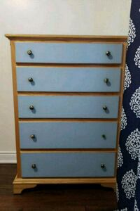 brown and blue wooden 5-drawer chest Barrie, L4N 8T4