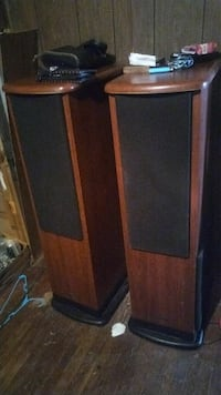 brown and black wooden home speakers