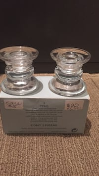 Two clear glass tapers with box Brampton, L6W 1C1